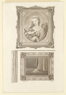 Showing two paintings. The upper one represents the Holy Family. The lower one a foot in side view of a person wearing a long garb. Left of the lower painting a curatin.