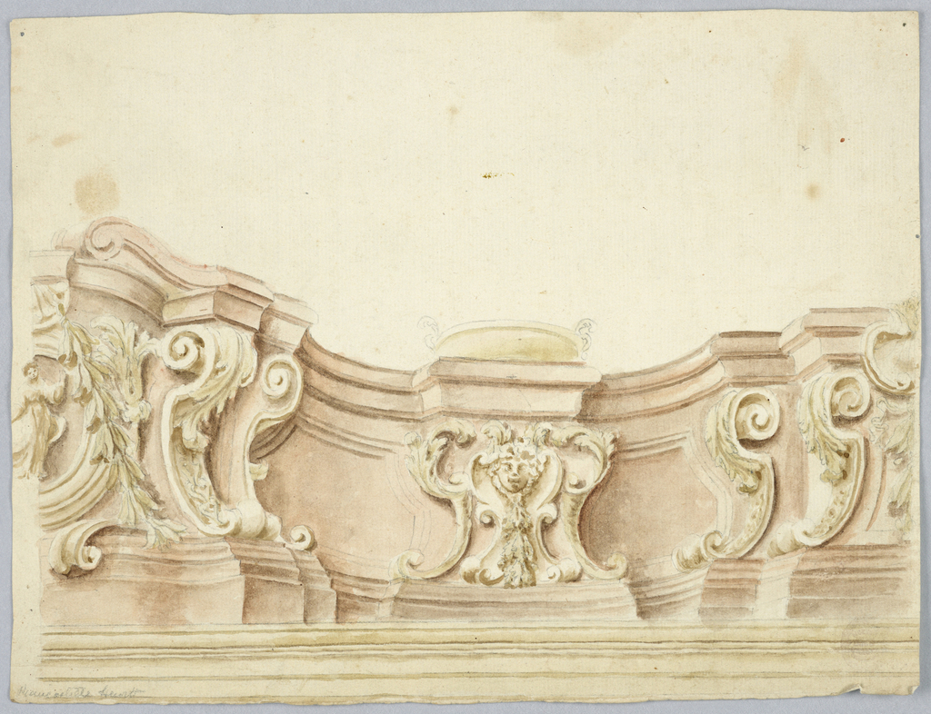 One half of a curved attic of red marble is shown rising upon an entablature.