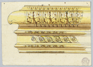 Composed of several mouldings, two of which show garlands. Two leaf rows; one is to be flanked, the other decorated with intertwined ribbons, with rosettes.