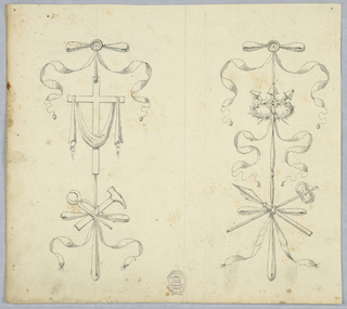 Design for two vertical trophies with the arms of the Passion of Christ. At left, the cross, vellum, hammer, tongs; at right, nails, crown of thorns, cane with sponge.