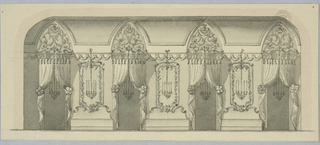View of a domed room. At center, an archway topped with an eagle and pediments. Flanking this are fluted pilasters and door with oval overdoor panels. Ceiling above divided into panels separated with festoons. Between each window, a mirror and a four branch candelabra.