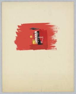 Study for an American Airlines poster design highlighting travel to England. .Against a red ground, a castle with two crenelated towers depicted in white and black outline, and abstractly shaded in black, white, and yellow. Above the castle, a skinny black cloud. To the left, a round yellow sun or moon.