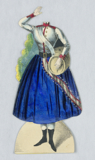 Paper doll costume for the figure of Jenny Lind representing the caharacter Marie from the opera Die Tochter des Regiments (The Daughter of the Regiment).   Designed to be placed over the doll.