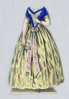 Paper doll costume for the figure of Jenny Lind representing the character Agathe from the opera Der Freischutze (The Freischutz).   Designed to be placed over the doll.