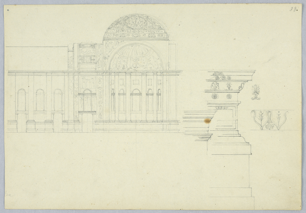 At left, a domed building with a series of niches. At right, entablature details.
