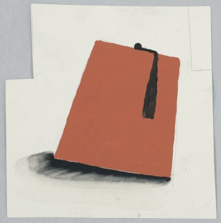 Study of a red fez, positioned at an angle with a black shadow at left. Top left corner of the page has a rectangle cut out of it. Top right corner of the page has a partial rectangle drawn with two lines.