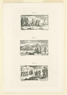 """Print, Plates 3, 4, and 5, Illustrations for """"Roman Military Punishment"""" by John Beaver"""