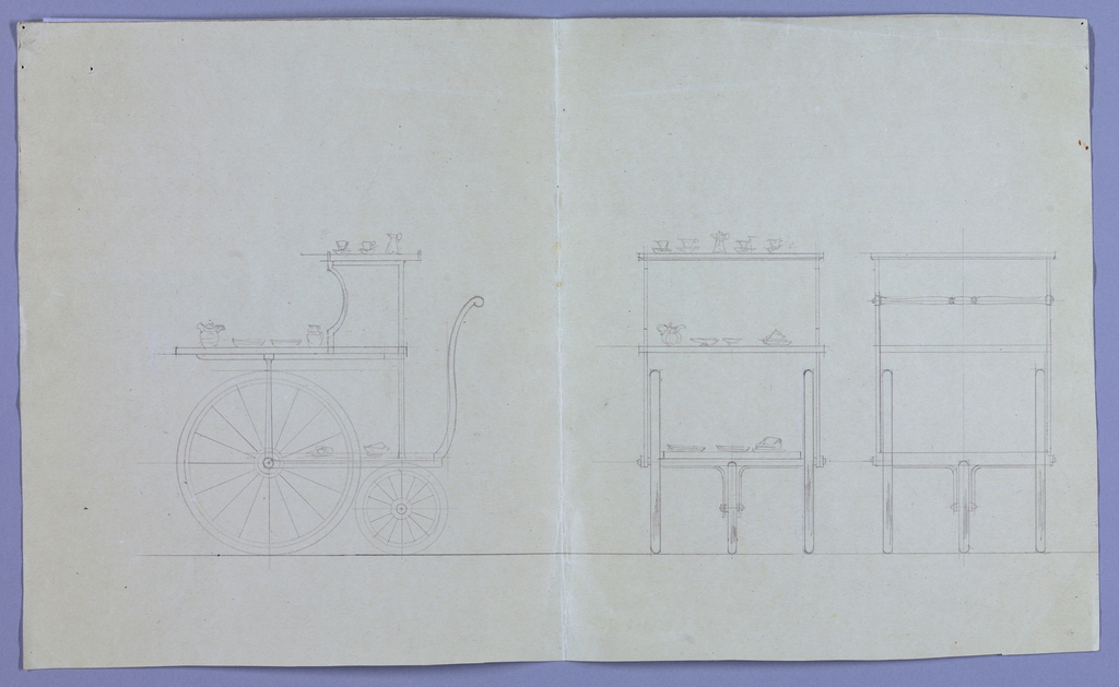Drawing, Design for Dining Table: Tea Wagon, 1900–05