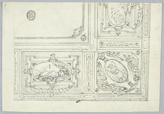 Corner of a ceiling shown. Lower right shows strapwork framing an angel. On either side, a landscape with frame.