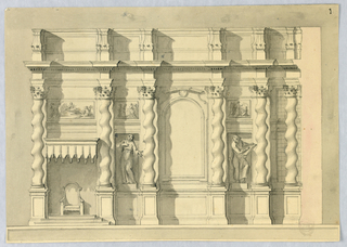 At the center, a blind archway surrounded by solomonic columns, and figural sculptures in niches below tablets. At left, a throne on a stepped dais. Above it, a lambrequin and a tablet with figural decoration.