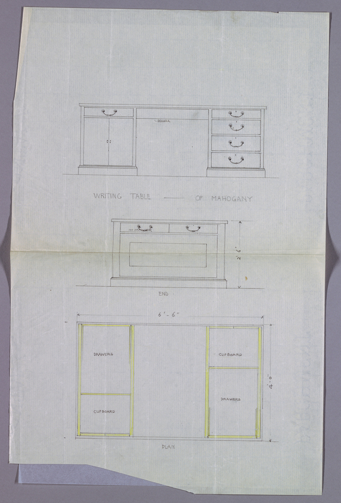 Drawing, Design for Writing Table with Double-Door Cupboard at Left, in Three Views