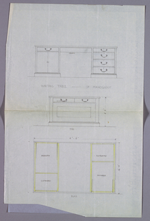 Drawing, Design for Writing Table with Double-Door Cupboard at Left, in Three Views, 1900–05
