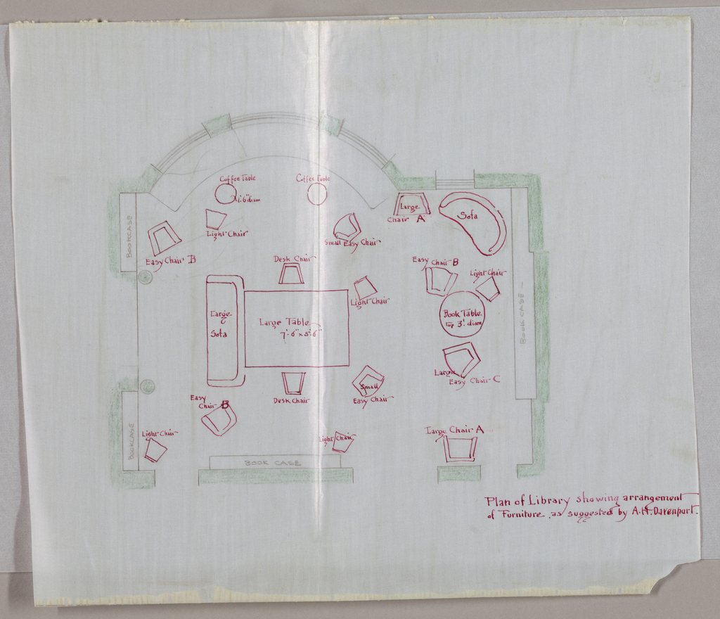 Drawing, Design for Library Showing Arrangement of Furniture