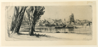 River scene at Fulham, with a bridge at right. Houses in mid-distance. At lower left foreground, four trees flank a road running from right to left.
