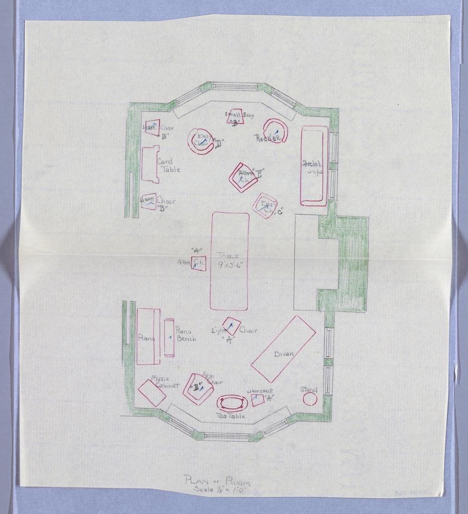 Drawing, Plan of Livingroom
