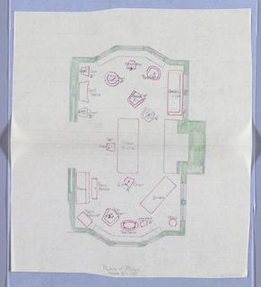 Drawing, Plan of Livingroom, 1900–05