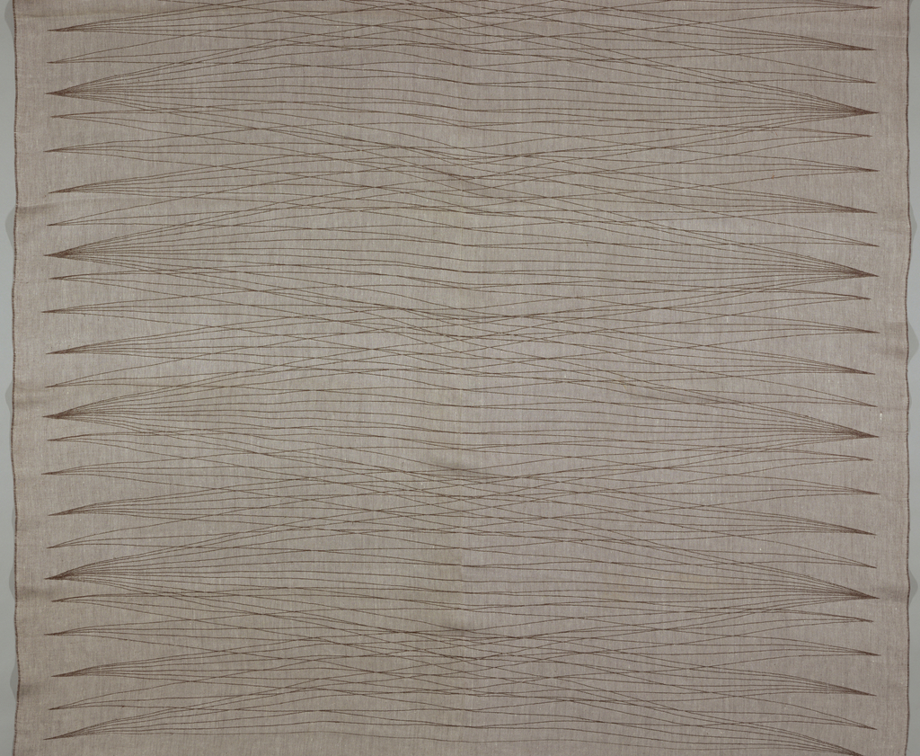 Tablecloth in off-white and brown showing a linear pattern.