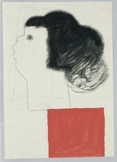Study of a motif, possibly for a poster or a book cover. A head seen in left profile, rendered with minimal facial features, and voluminous black hair with short bangs. Where the head's neck ends, a red block, off center to the right. Surrounding the image, graphite framing lines.