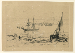 At right foreground a brig lies at anchor, with bow towards right. At left mid-distance, a barge and more barges in further distance. A town in background.
