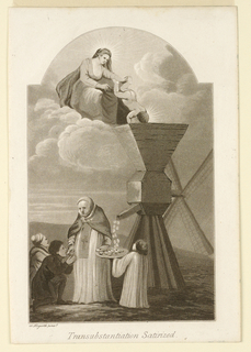 A landscape scene. On a cloud a Virgin with Child who bends over the hopper of a mill. Below a choir boy catches communion from the spout of the mill. A priest standing next to him gives it to two boys.