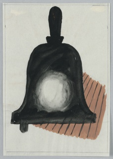 Black handbell with a round white circle in the center on top of a brown, lined, ground, resembling a wood floor.