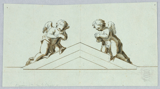 Horizontal rectangle showing a triangular pediment flanked by two angels in adoration.
