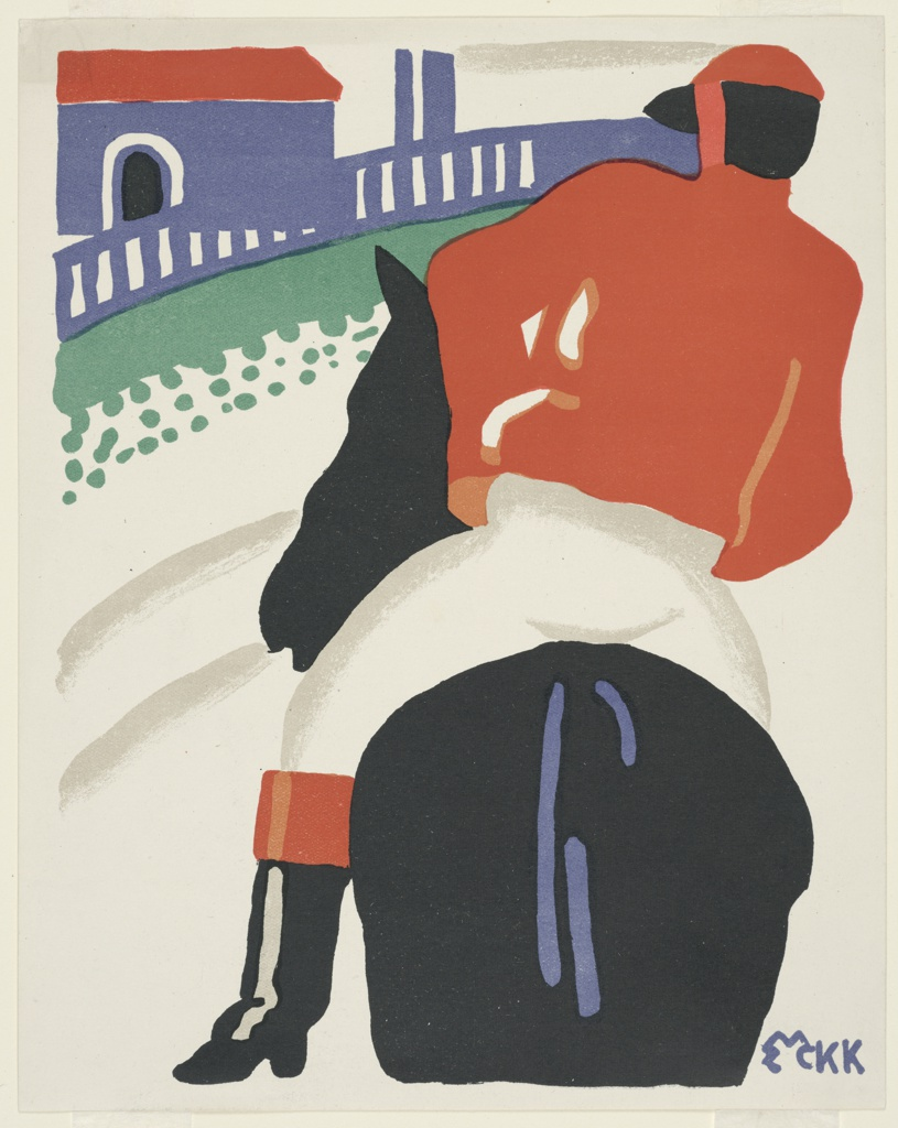 Design for a package label for cotton goods. Rear view of a jockey, wearing a red top and helmet, riding on a black horse towards a blue house and fence in the distance.