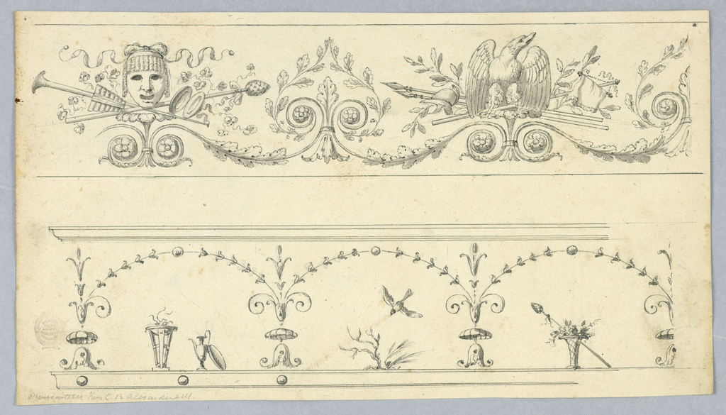 Page divided horizontally showing two frieze deigns. At top, a mask and eagle with trophies. Scrolling oak leaves form into a palmette. At bottom, bellflowers form an arcade, with objects below, including a brazier, an ewer and a bird.