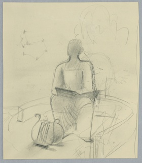 Study of a seated allegorical figure, with a large open book in their lap. At the figure's feet a sphere and a lyre. In the sky above, at a collection of stars connected by lines suggesting a constellation or astrological sign.