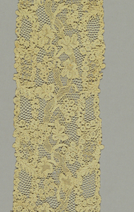 "Needle lace with a design of twisting vines and grapes. Commonly called ""Point d'Argentan"""