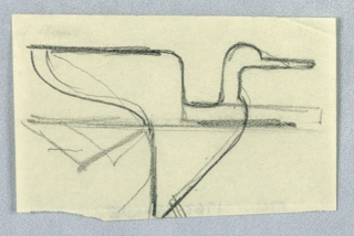 Study of an abstract bird, likely for an Imperial Airways (now, British Airways) advertisement or logo. An abstract bird, with wings flapping behind it, and a long beak, seen in right profile. The bird is rendered in outline with various sketches and lines crossing through the bird's body at center.
