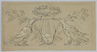 Horizontal rectangle showing a crowned lyre and two oblique trees framed by a par of eagles.