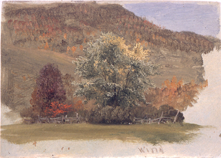 "Horizontal image of  group of treesin front of a wood.  A fenced pasture is in the foreground, a hill in the background.  The gray grounding color is shown at the bottom, where ""wind"" is written with lilac color."