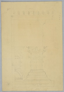 Vertical rectangle. A corinthian capital and cornice profile; left, cross-section of capital and column. Scale indicated below.