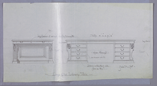Drawing, Design for Large Oak Library Table in Two Views, 1900–05