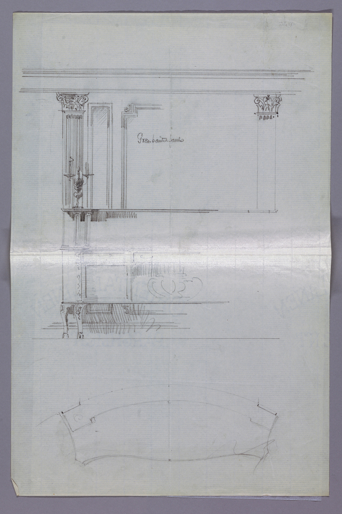 Elevation view [left half only]: elaborate oblong sideboard with cabriole legs and niche at center, flanked by 2 doors; top shelf supported by raised backsplash and pair of short columns; upper left, sketches of wall paneling with fluted pilasters of composite order and a pilaster. Plan view: semi-circular top with convex front.