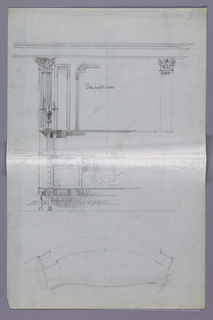 Drawing, Partial Design for Sideboard in Elevation and Plan