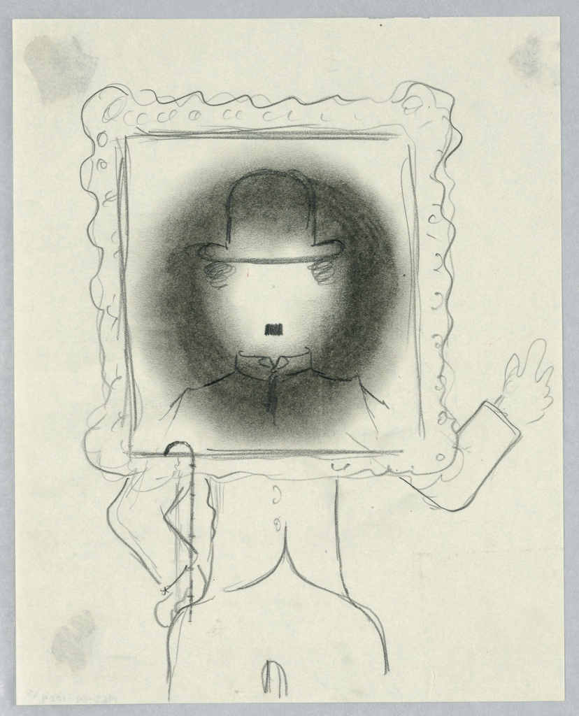 Study for an abstracted caricature of Charlie Chaplin. The figure stands frontally with an ornate picture frame superimposed over his head and shoulders. His rest of his body and arms (one raised as if waving) are seen below and to the side. Chaplin's face is depicted only by a bowler hat, two curls of hair on each side, and a small moustache.
