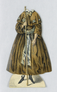 "Paper doll costume for the figure of Jenny Lind representing the character Alice from the opera ""Robert der Teufel"" (Robert the Devil). Designed to be placed over the doll."