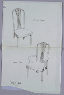 Drawing, Designs for Matching Side and Arm Chairs, #1