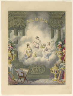 "The Three Fates are seated on a cloud in an architectural enframement. Below, symbols of the arts. At top: ""ALBUM"" in gold letters."