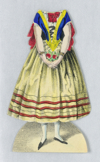 Paper doll costume for the figure of Jenny Lind representing the character Amine from the opera Die Nachtwandlerin (The Somnanbule).  Designed to be placed over the doll.