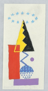 Study for an abstract composition. Under a ring of eleven blue stars, an arrangement of colorful shapes. Directly below the ring of stars, a triangle bisected by a zig-zag line half in yellow and half in black. The zig-zag line extends below the triangle in blue, and terminates at a blue circle covered in light blue stars. At left, a tall, red rectangle. Below, a horizontally-oriented purple rectangle. To the right, a purple dot.