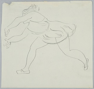 Study of a leaping figure with arms raised to the left, obscuring the figure's face. The figure is dressed in a draping, short garment.