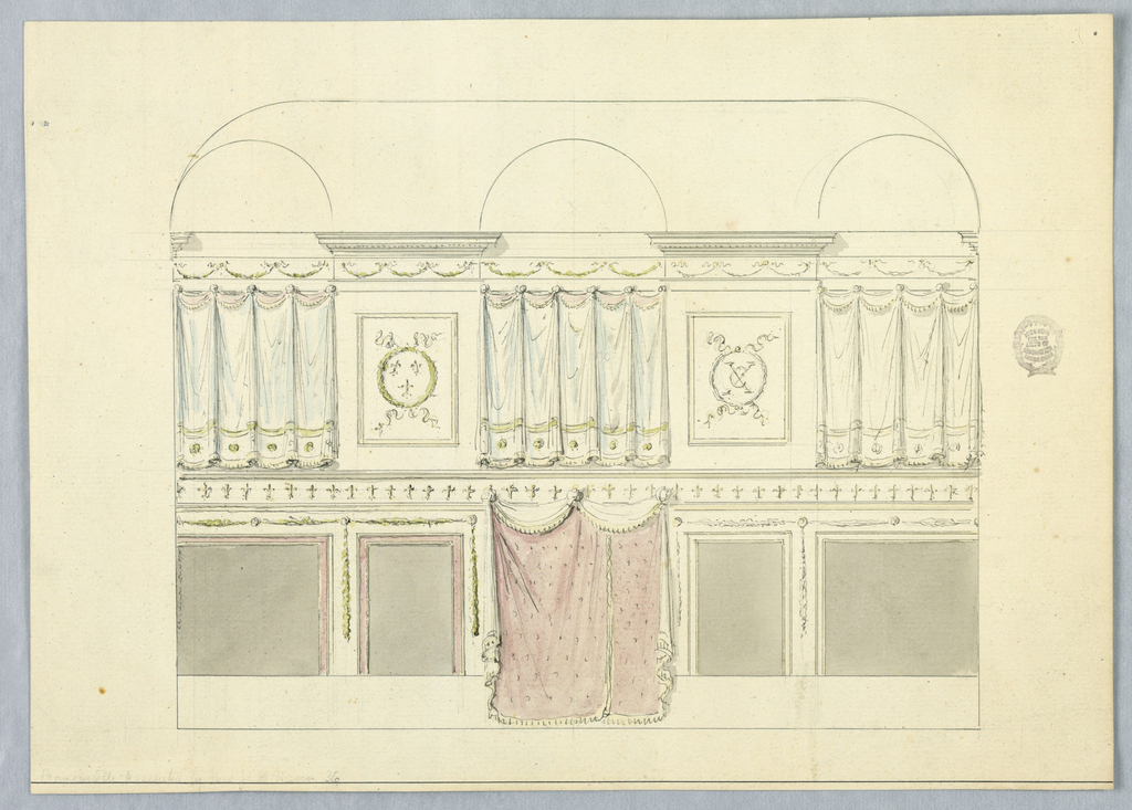 Elevations of a room with alternative suggestions. At top, a frieze decorated with swags. Two bays are decorated with panels showing laurel wreaths. Between these are panels of drapery with circular pins. At bottom, a frieze with cruciform design (possibly fleur-de-lis). Below this, panels separated with festoons. At center, fringed drapery.