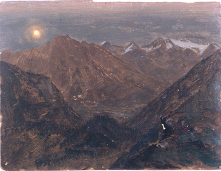 Horizontal image of a valley in the central middle distance and of a mountain and a range in the rear.  At the top left a full moonlight.