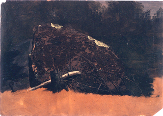 Horizontal image of a big boulder shown against a wooded background.  A stool and dry branches are in front of it.  Lateritious ground color is shown at the bottom.