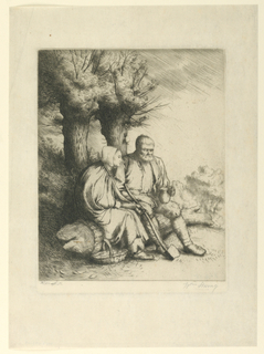 Print, Seated Peasant Couple