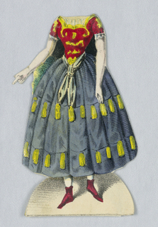 Paper doll costume for the figure of Jenny Lind representing the character Vielka from the opera Vielka.   Designed to be placed over the doll.