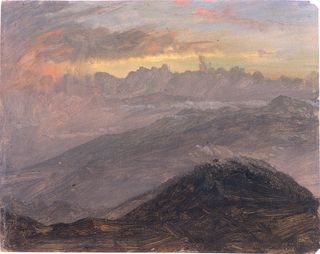 Drawing, Sunset and Mountains, July 1865